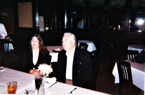 Bill Kurtis, Betty Dorsett Duke & Waggoner Carr talking over lunch at the Mustang Cafe in Dallas, TX