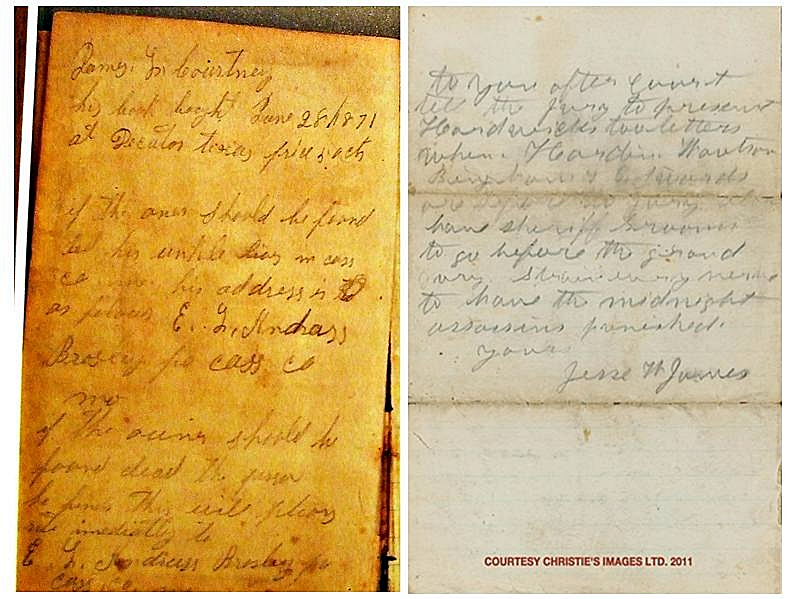 Jesse James' Journal and Christies sample 2